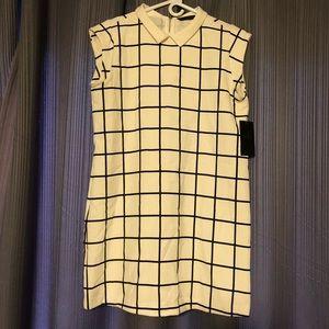 Zara Peter Pan Collar Dress Large Windowpane